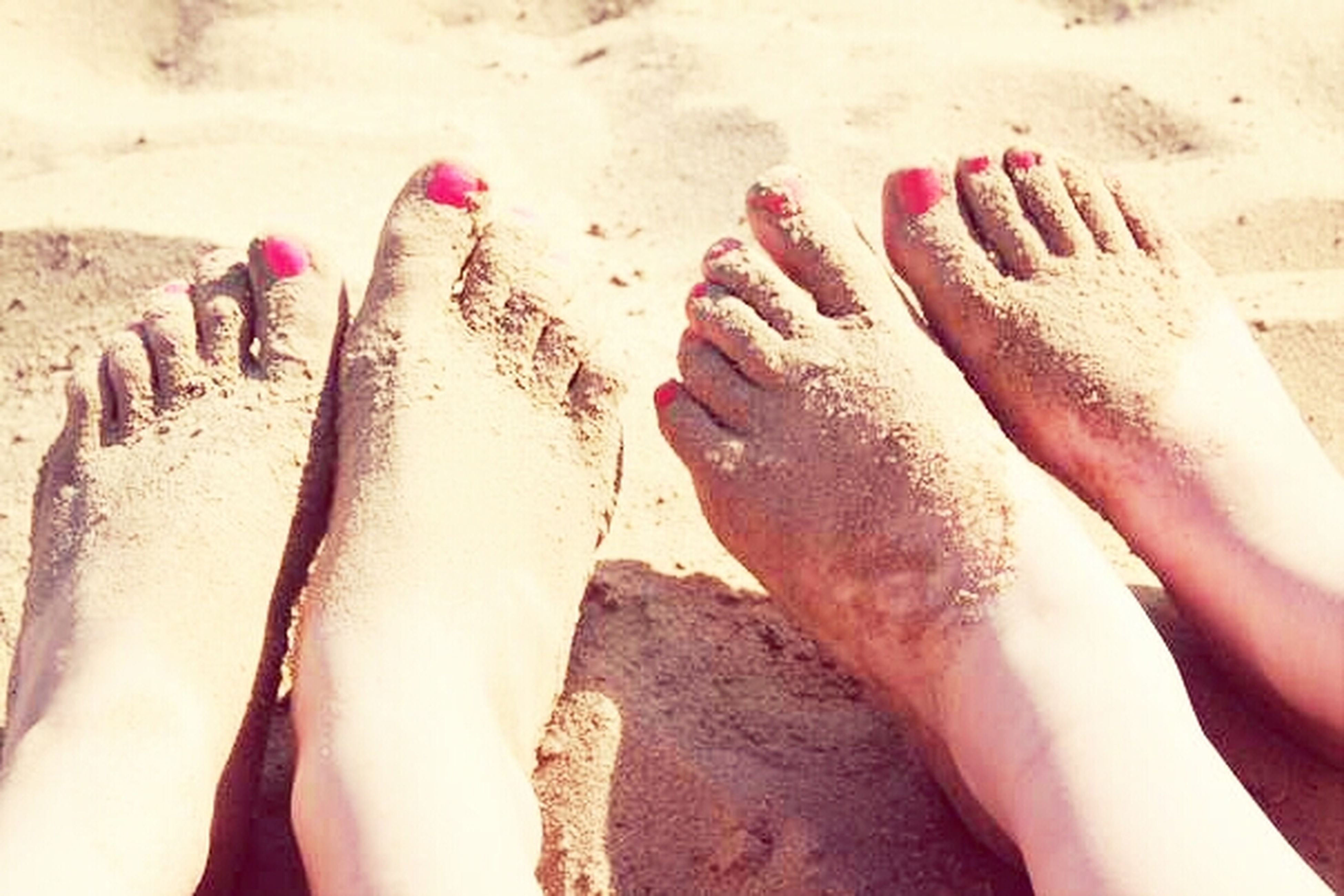 sand, beach, low section, person, lifestyles, barefoot, leisure activity, human foot, high angle view, part of, sunlight, unrecognizable person, day, personal perspective, outdoors