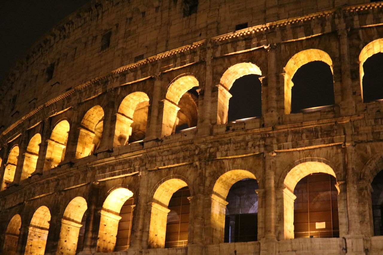 arch, architecture, history, built structure, old ruin, travel destinations, the past, tourism, travel, ancient, building exterior, no people, low angle view, outdoors, night, ancient civilization, sky
