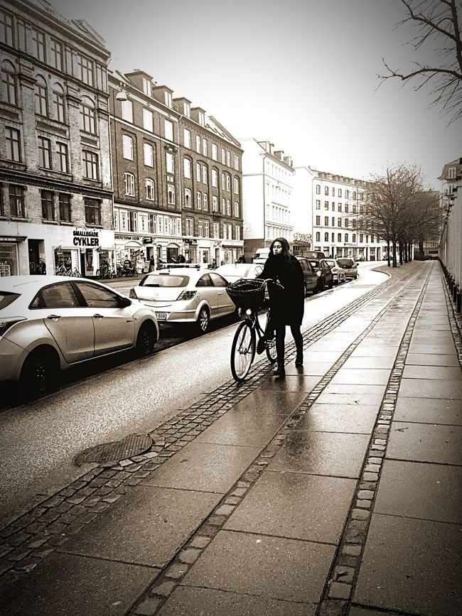 One lady. One bike. Bike Lady Copenhagen Blackandwhite