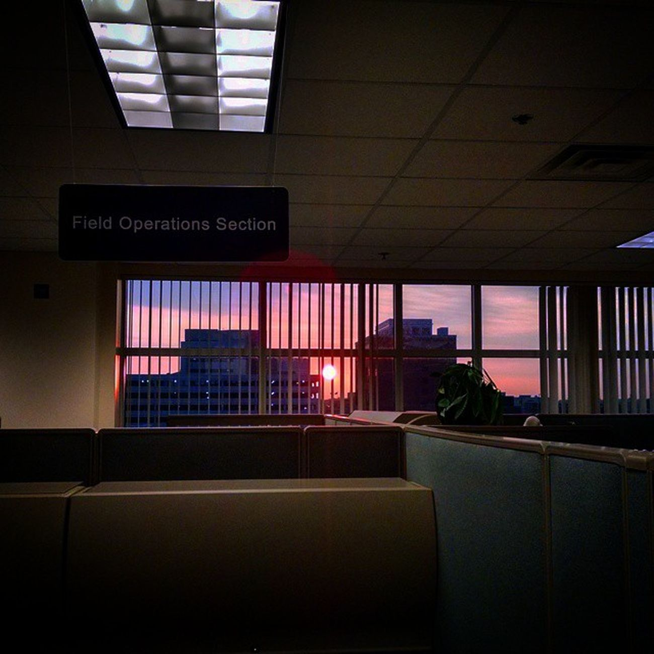 Sunrise over cube land this Morning .