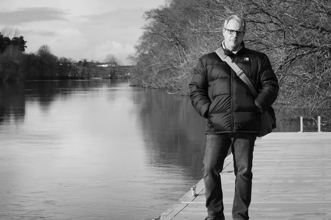 Black & White Calm Cold Days Mooring One Person Riverside Water