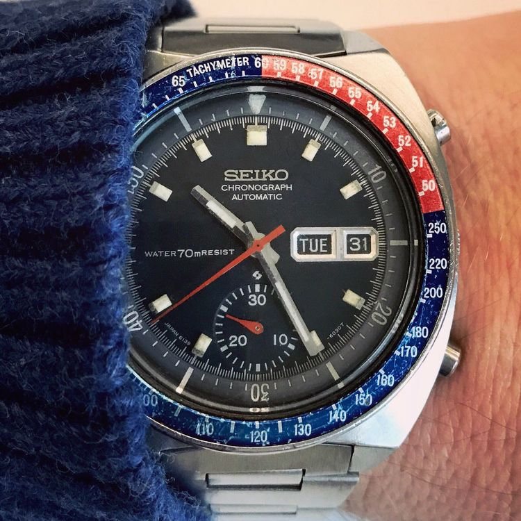 Seiko Chronograph 6139-6002 called Pogue Seiko Seikowatch Watch Pogue Number Close-up No People Clock Indoors  Clock Face Gauge Minute Hand Day EyeEmNewHere