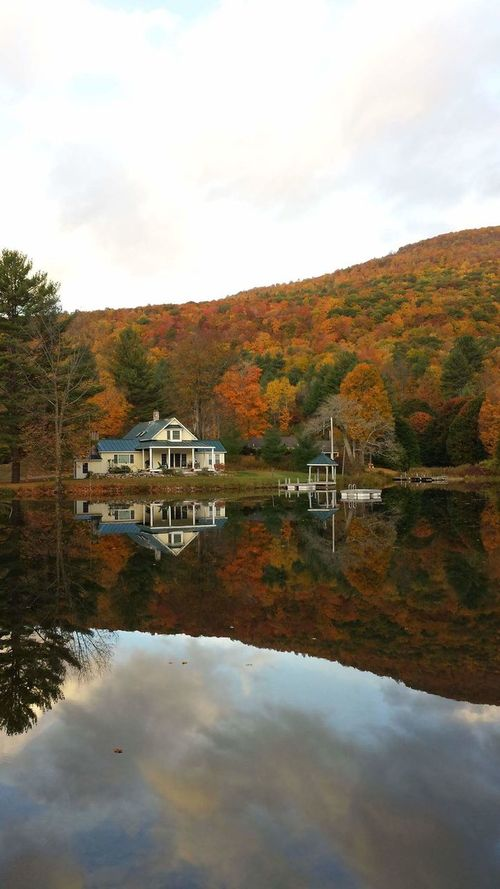 Good Morning Golden Hour Unfiltered Unaltered Unmotified True Colors Perfect Timing Peak Fall Colors On The Pond Water Reflections Placid  Natures Beauty Green Mountain State
