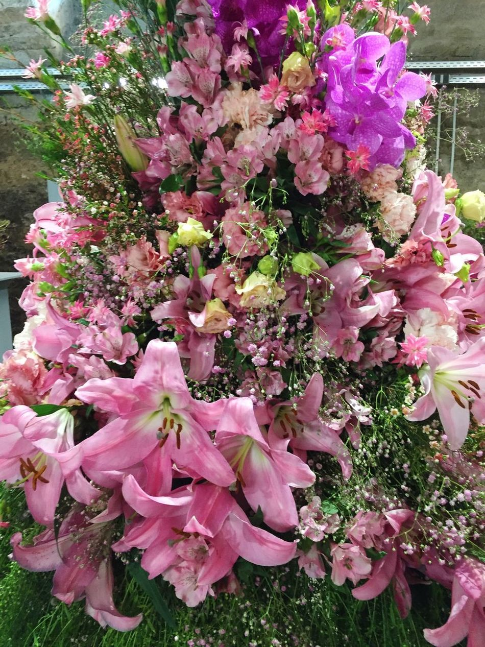 Pink flower decoration with lilies Flower Pink Color Freshness Fragility Beauty In Nature Petal Nature Growth Flower Head No People Pink Close-up Bouquet Outdoors Rhododendron Pale Pink Day Flower Arrangement Mother's Day Valentine's Day  Day Lily Lilies