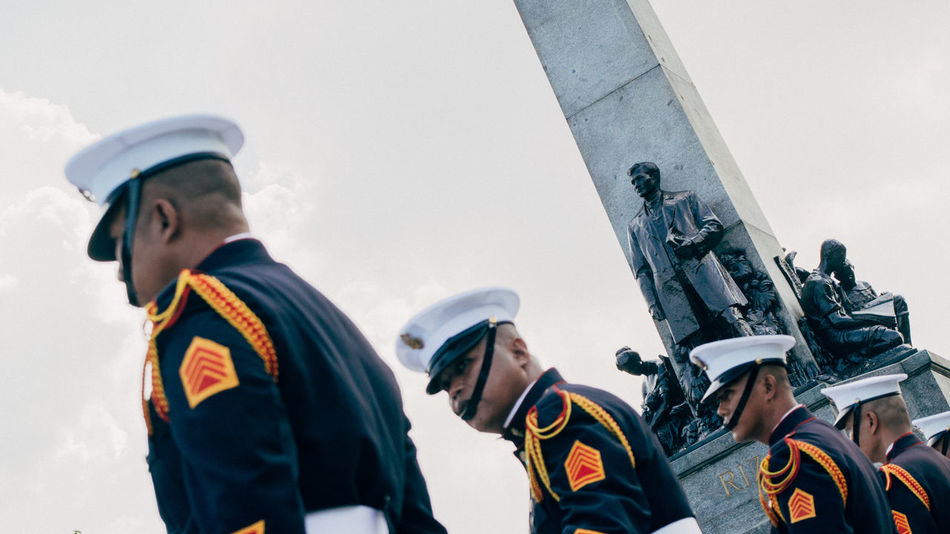 "3/4. ""istatwa at ang guwardiya"" Cliche Eyeem Philippines From My Point Of View Streetphoto_colorGuards Statue Rizal Luneta Samsungphotography. Dutch Angle for more cancerous-cliche effect"