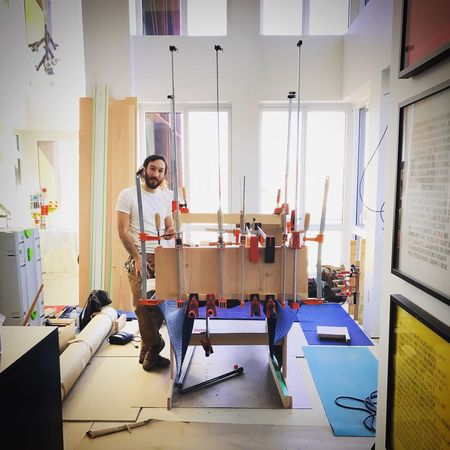 Indoors  Real People Lifestyles Skill  Working Woodworker Woodworkers Create Build Clamps Penthouse NY NYC DUMBO, Brooklyn Contractors  Work