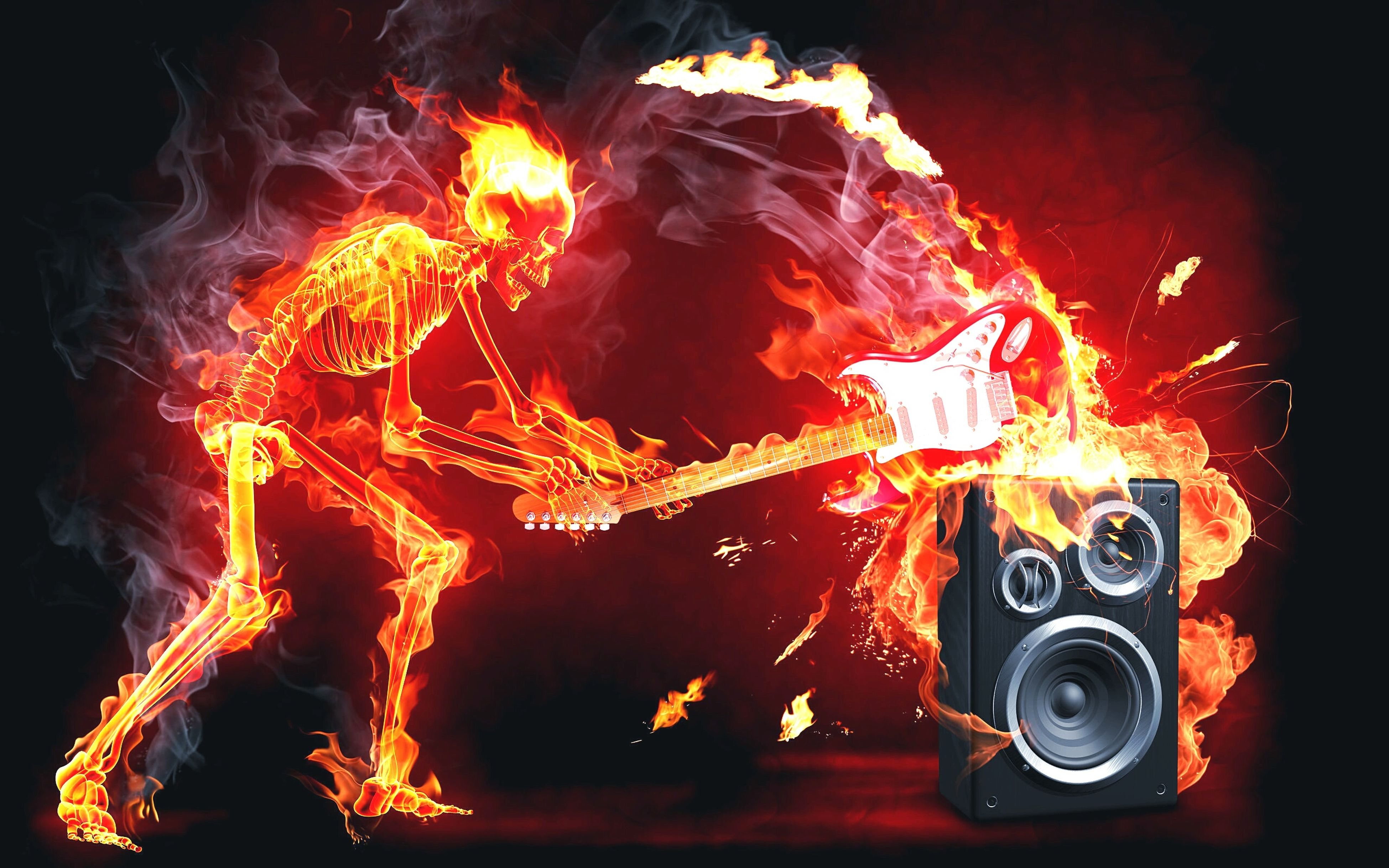 Fire Heavy Metal Rock'n'Roll Guitar Guitarists Music Band Tecnology Soobwoofer