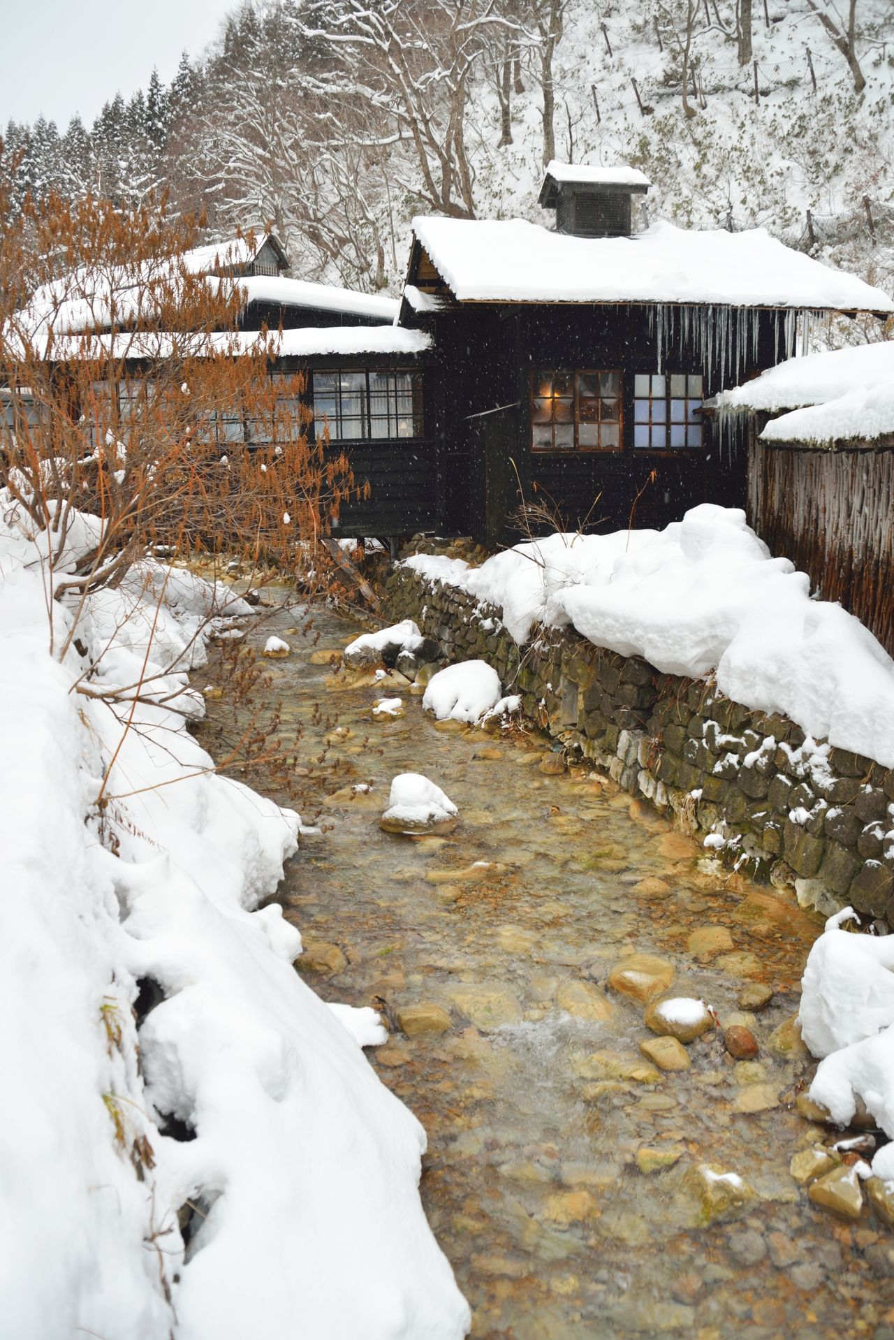 Small river flowing by an onsen in winter in Akita, Japan. Akita Beauty In Nature Cold Temperature Day Frozen Ice Japan Japan Photography Japanese Culture Nature No People Onsen Outdoors Relaxation River Sky Snow Snowing Stream Tohoku Weather White Color Winter