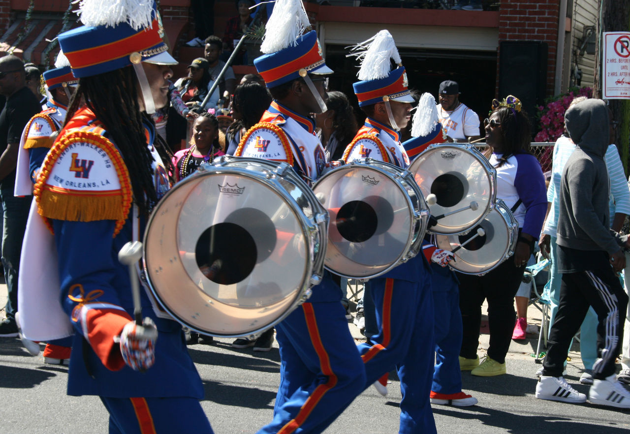 Landry Walker High School Marching Band Day Drummer Drumming Drums Headwear High School High School Band Marching Band Mardi Gras Music Musical Instrument Nomtoc Outdoors People Real People Uniform