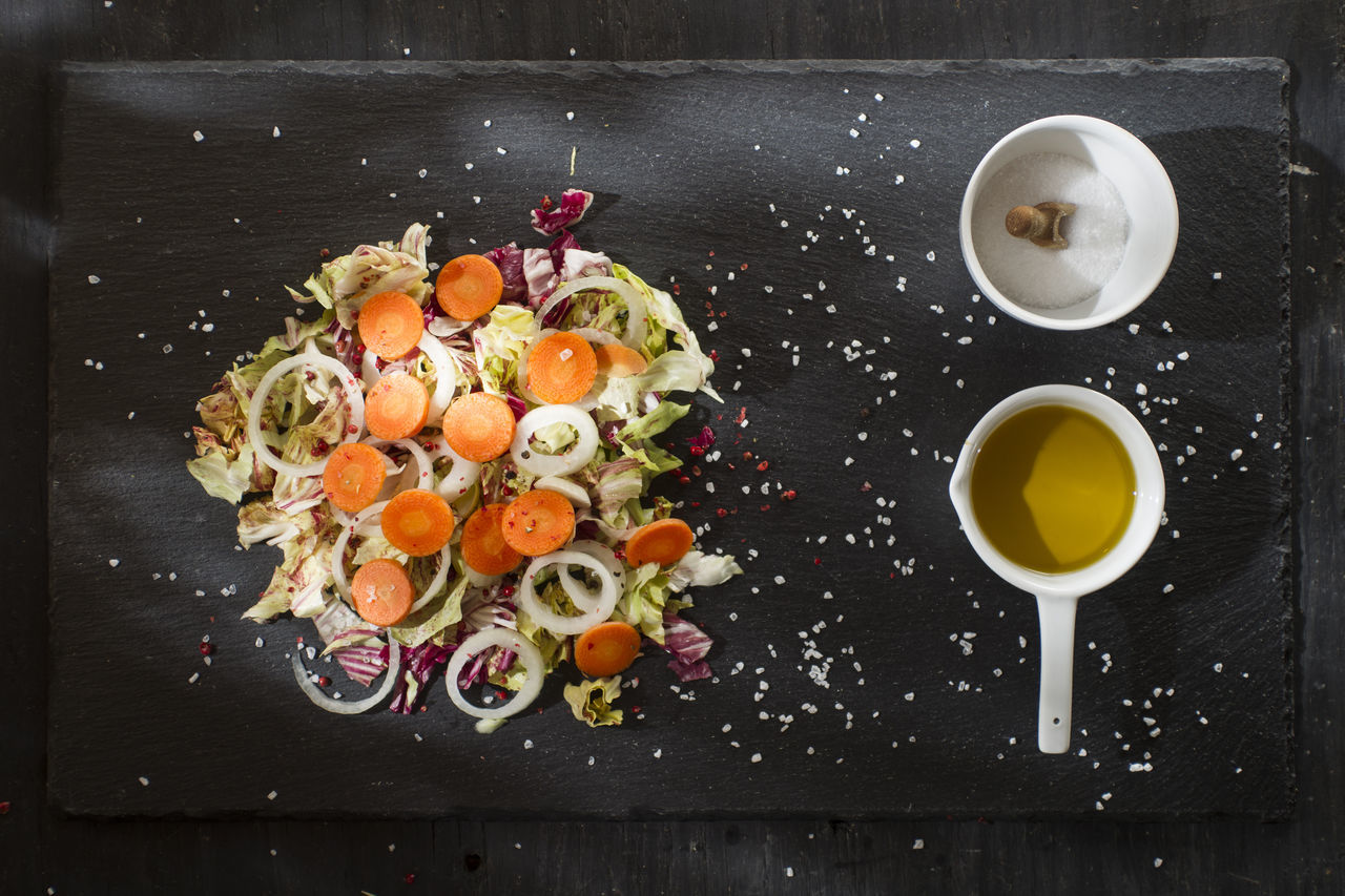 food and drink, freshness, directly above, food, healthy eating, no people, indoors, vegetable, table, ready-to-eat, fruit, drink, close-up, day