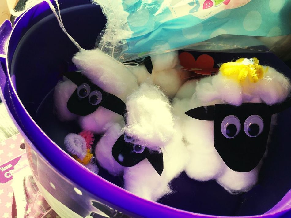 Craft Bucket Sheep Cotton Wool Handmade