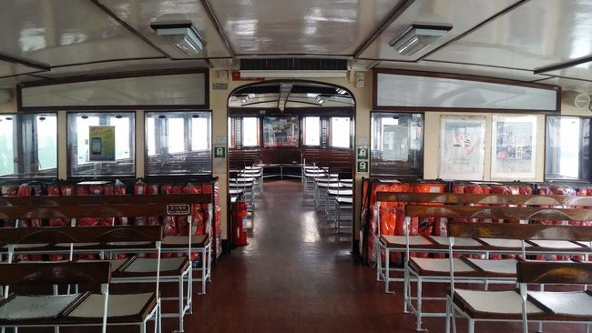 Inside a star ferry boat Boats⛵️ Interior Boat Travel Traveling Boat Ride People