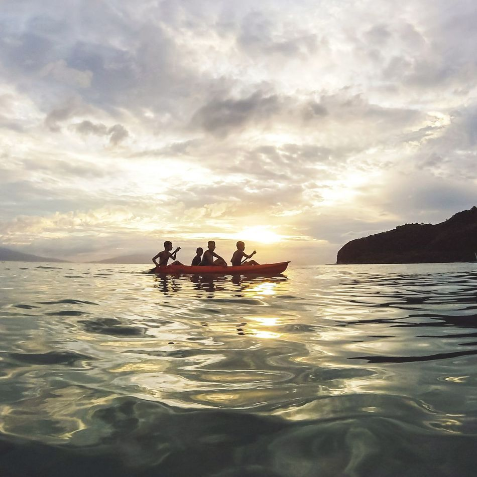 This month we travelled to Masasa Beach in Marikaban Island in Batangas province to conduct outreach program for the kids in the island.. this is a shot of local kids kayaking during sunset on our 1st day in the island👌⛅ Sunset Goprophotography Travel Sea Outdoors Cloud - Sky Sky Nature WaterTravel Photo Landscape Beauty In Nature Eyeem Philippines People And Places Masasa Beach Batangas Philippines Itsmorefuninthephilippines My Year My View Betterlandscapes