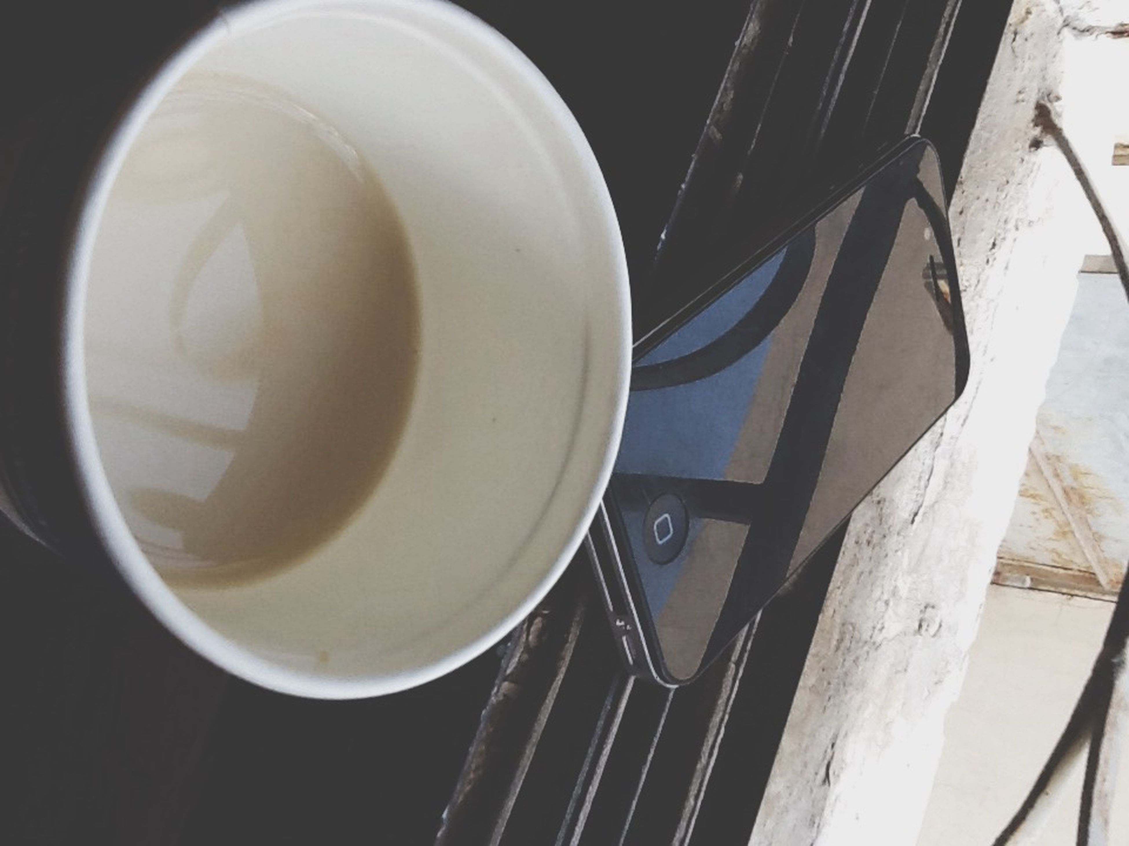 coffee cup, high angle view, table, indoors, close-up, still life, drink, coffee - drink, no people, empty, refreshment, wood - material, saucer, container, food and drink, coffee, metal, day, cup, white color