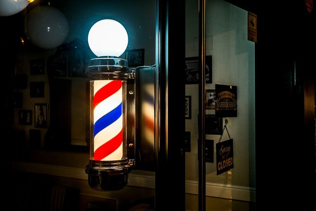 Barber Shop Sign Color Things I See Open Edit Vibrant Color Backgrounds Light And Shadow Street Night Shot