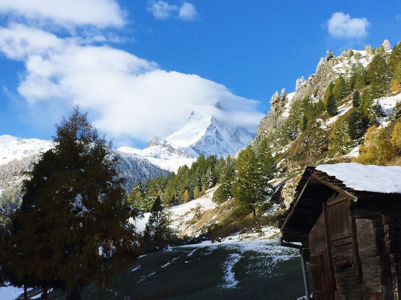 Mountains Switzerland Zermatt Mountain Snow Famous Place Zermatt 2015 Alps Swiss Alps Swissalps Switzerlandpictures Matterhorn  The Matterhorn Autumn Foggy Cloud White White Top Nature Europe Alpen Panorama Panoramic Photography