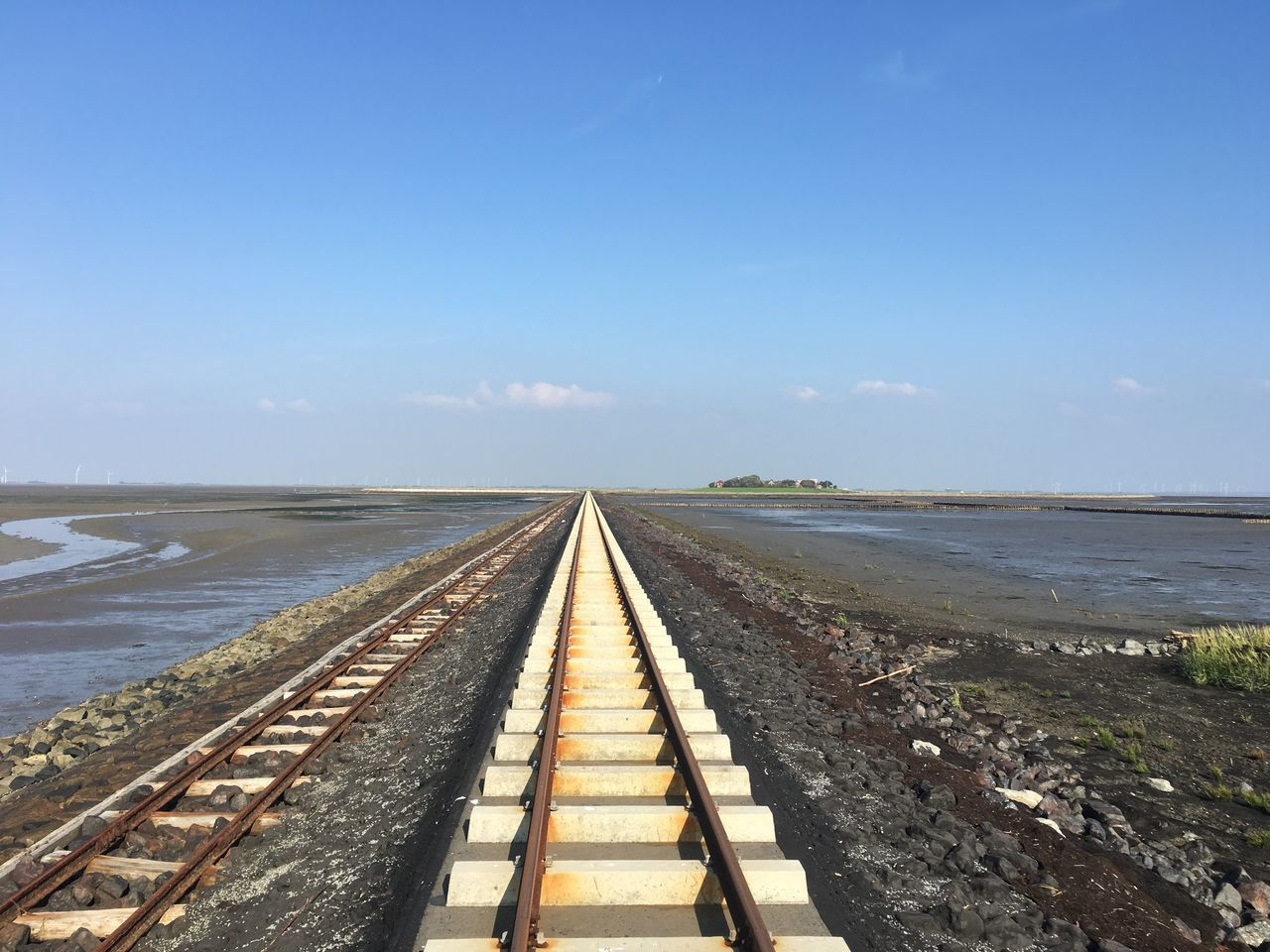 Day Ebbe Hallig Langenes Lore Lorenbahn No People Northsea Outdoors Railroad Track Railway Sea Sky Tide