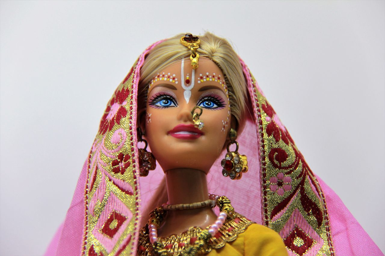 Arts Culture And Entertainment Barbie Barbie Collector Barbie Expo Close-up Cultures Gold Human Body Part India One Person Portrait Tradition