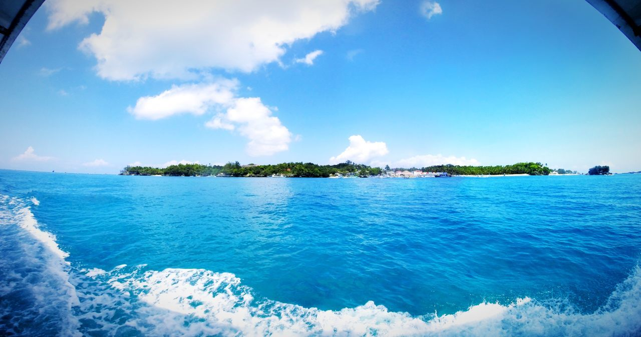 Panorama Boracay Philippines Whitebeach Sea Bluesky Clouds Traveling Outdoors View