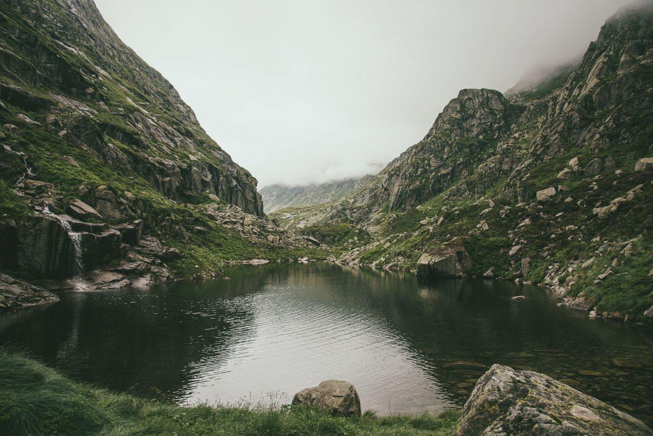 Pyrenees Mountains Pond Fog Foggy Lake Midi-Pyrenees Ariege