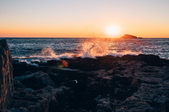 missing the sun and sea! Beach Beauty In Nature Horizon Over Water Power In Nature Rock Sea Seascape Sunset Water Wave