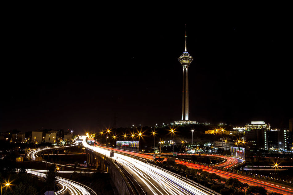 milad tower in the night at Tehran . IRAN Iran Iran♥ Long Exposure Milad Tower Night Night Lights Nightphotography Tehran Tehran Night Tehran, Iran Break The Mold Art Is Everywhere