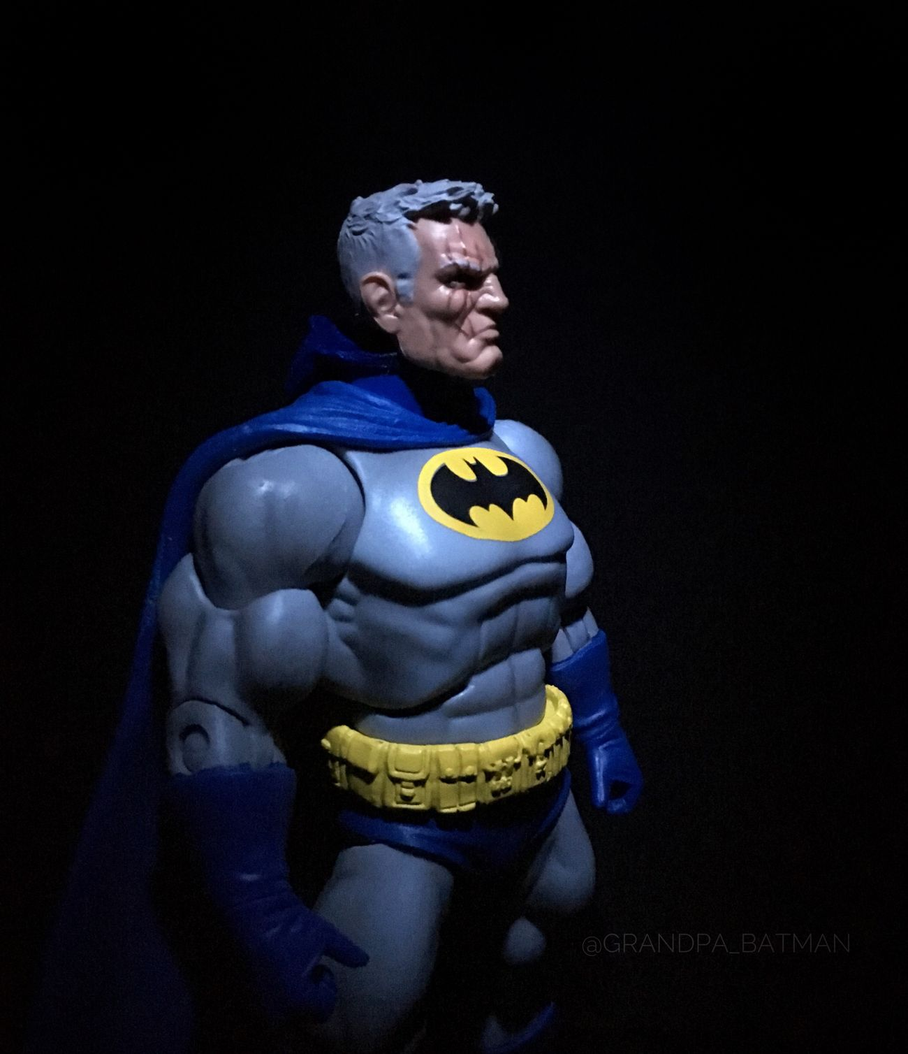 """""""Why do you THINK I wear a target on my chest....can't armor my head..."""" FrankMiller Darkknight Darkknightreturns Actionfigurephotography Batman"""