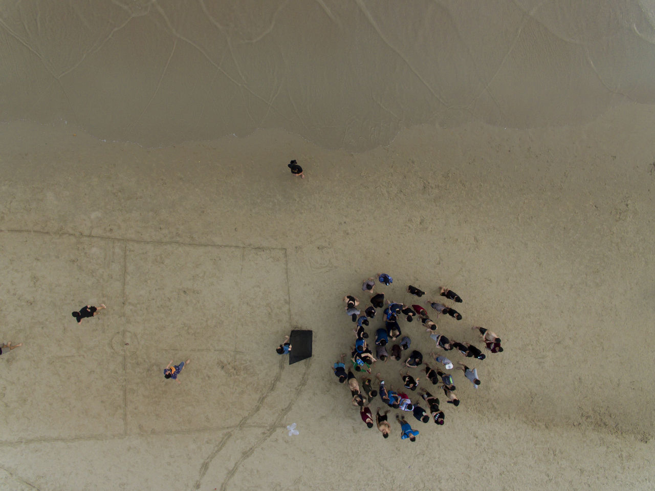 Group of people on the beach top view from drone Beach Sand Nature Below Looking Down From Above Looking Down Looking From Above Daily Life Tourism Friends People Group Of People Seaside Drone View Flying High