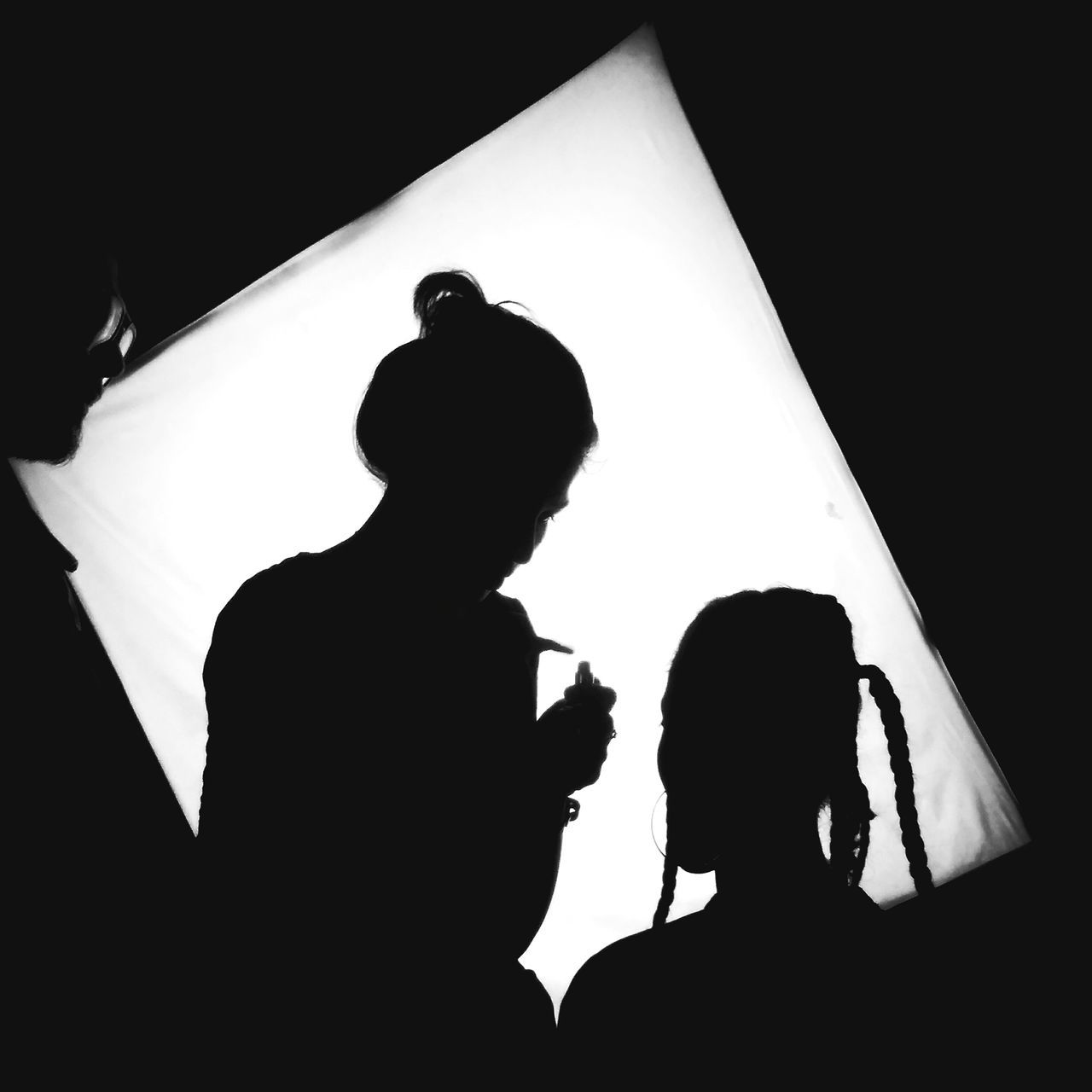 Behind the scenes. Behindthescenes Two People Silhouette Shadow Fashion Styling Stylist Against The Light Bnw Rihanna Makeup Model Studio Photography Fashionista Hidden Unexplored Mysterious Illusion