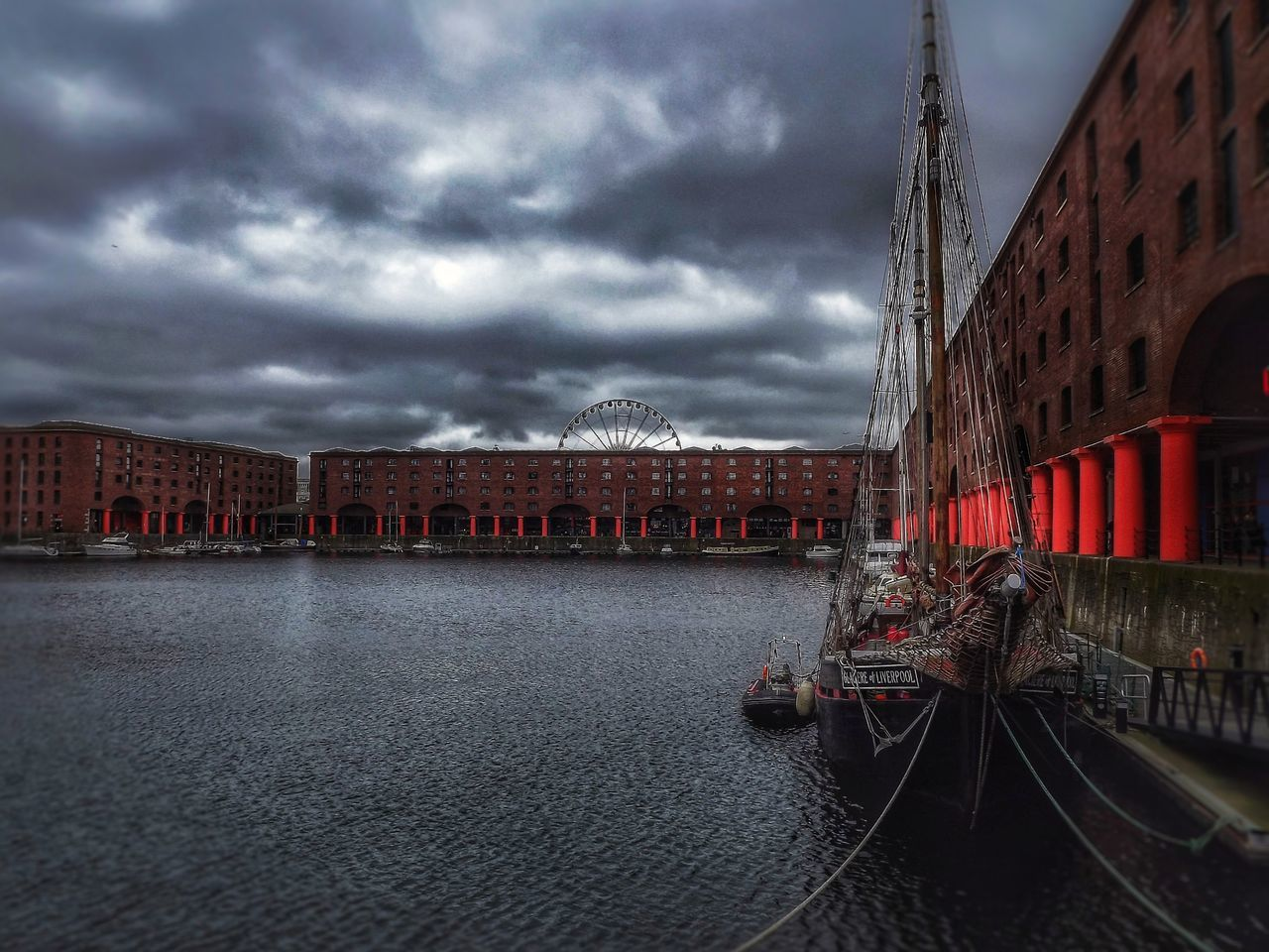 Albert Dock Liverpool on a very cloudy day Cloud - Sky Illuminated Storm Cloud Dramatic Sky EyeEm Masterclass Fujifilm Malephotographerofthemonth Creative Light And Shadow Portrait Photography The World Through My Eyes Buildings,style,arquitecture,sky Buildings Architecture Albert Docks Liverpool Albert Docks Liverpool Skyline Tallship Liverpool, England
