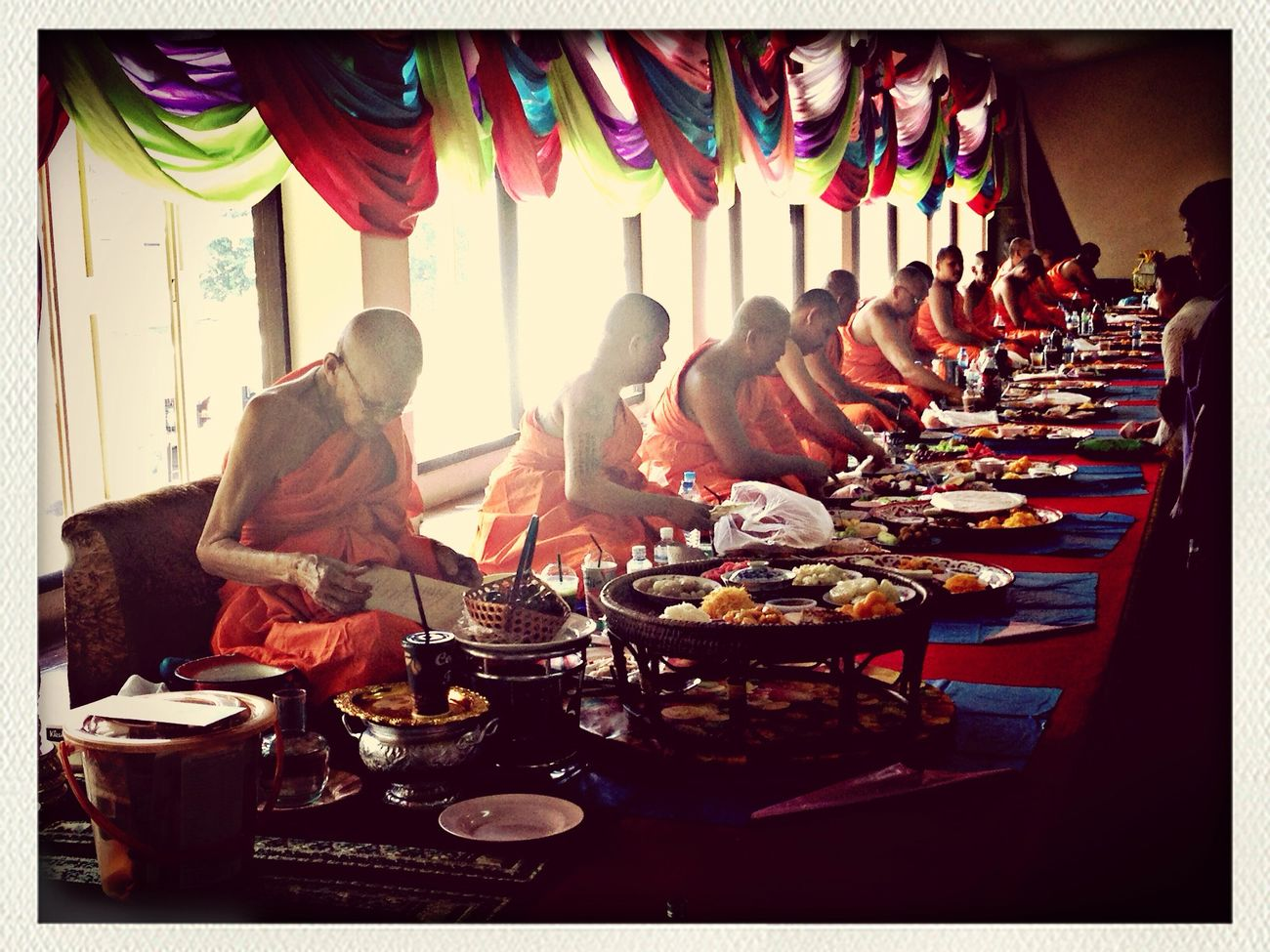Chan-PLa= Monk  having Lunch . This pic took in the end of Buddhist lent Thailand Traditional