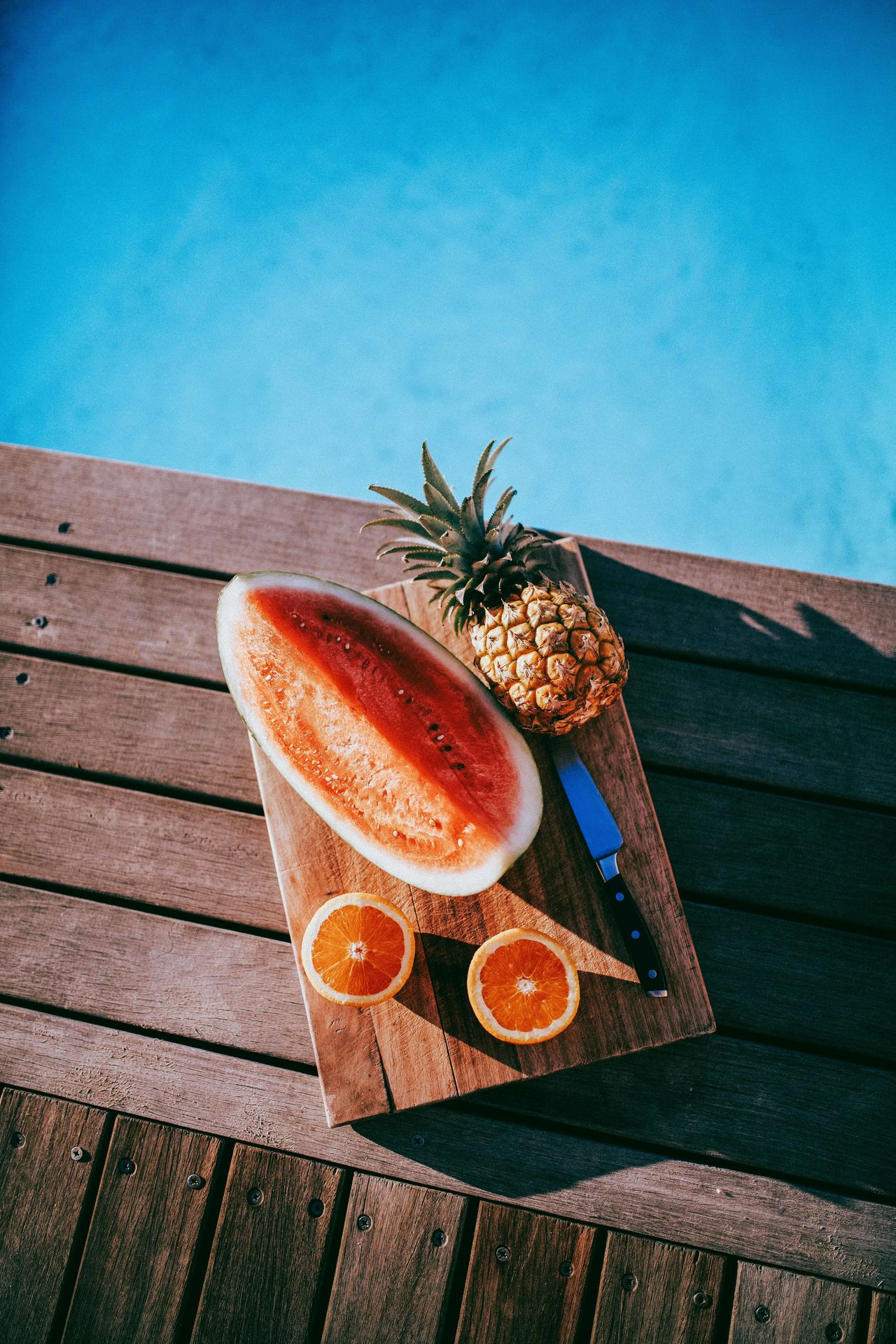 Day Food Food And Drink Freshness Fruit Healthy Eating Healthy Lifestyle Knife No People Oranges Pineapple Plate Platter Ready-to-eat Refreshment SLICE Watermelon Wood - Material
