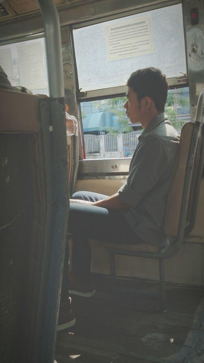 Man Inbus Onthego Ontheway Thaiman Sitting Daylight Thailand Bangkok Thailand.