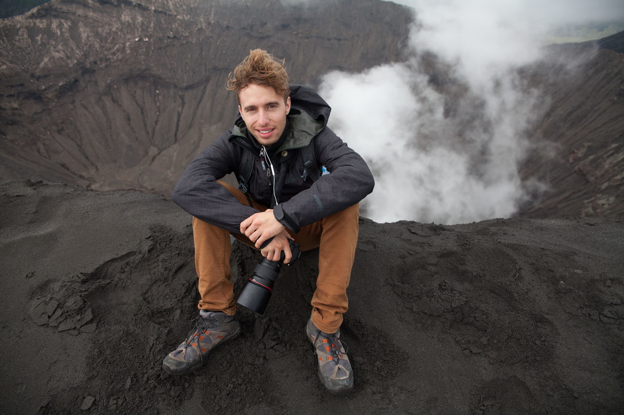 Beautiful stock photos of volcano, Camera, Casual Clothing, Caucasian Ethnicity, Day