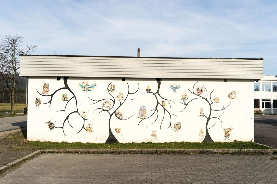 wall art Architecture Building Exterior Built Structure City Creativity Day Graffiti No People Norway Norway🇳🇴 Outdoors Sky Spray Paint Tree