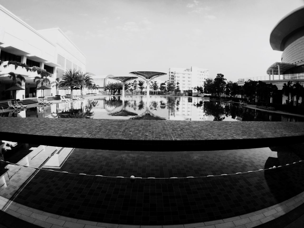 swimming pool, architecture, water, built structure, sky, building exterior, outdoors, real people, day, large group of people, tree, men, fish-eye lens, skateboard park, people