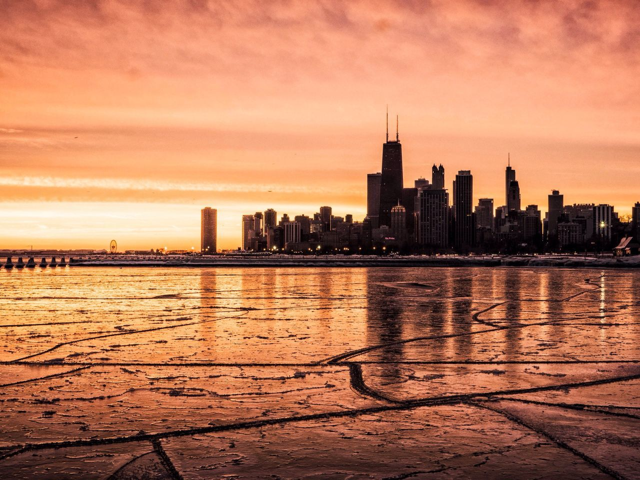 Finding New Frontiers Architecture City Sky Skyline Beach EyeEm Best Shots Frozen Cracks Mars Chicago Chicago Skyline Ice Weather Cityscape Urban Skyline Light Colors