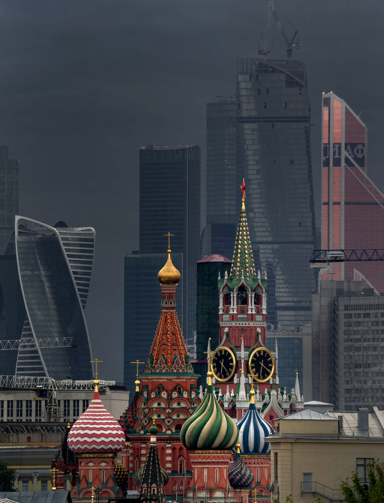 Moscow Red Square, St. Basil's Cathedral, Moscow City. Architecture Building Exterior Built Structure Church City City Life Community Dive Architecture, Cityscapes, Old Farther Thames, Skylines.  Façade Famous Place History International Landmark Low Angle View Moscow Moscow City Place Of Worship Red Square Religion Residential District Spirituality St. Basil's Cathedral In Moscow Tower