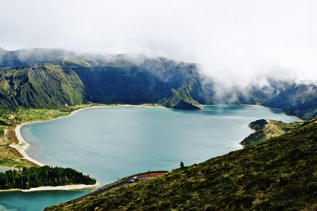 Awe Azores Azores, S. Miguel Beauty In Nature Cloud - Sky Cloudy Day Idyllic Lake Landscape Light And Shadow Mountain Mythical Nature No People Outdoors Scenics Social Issues Tree Water
