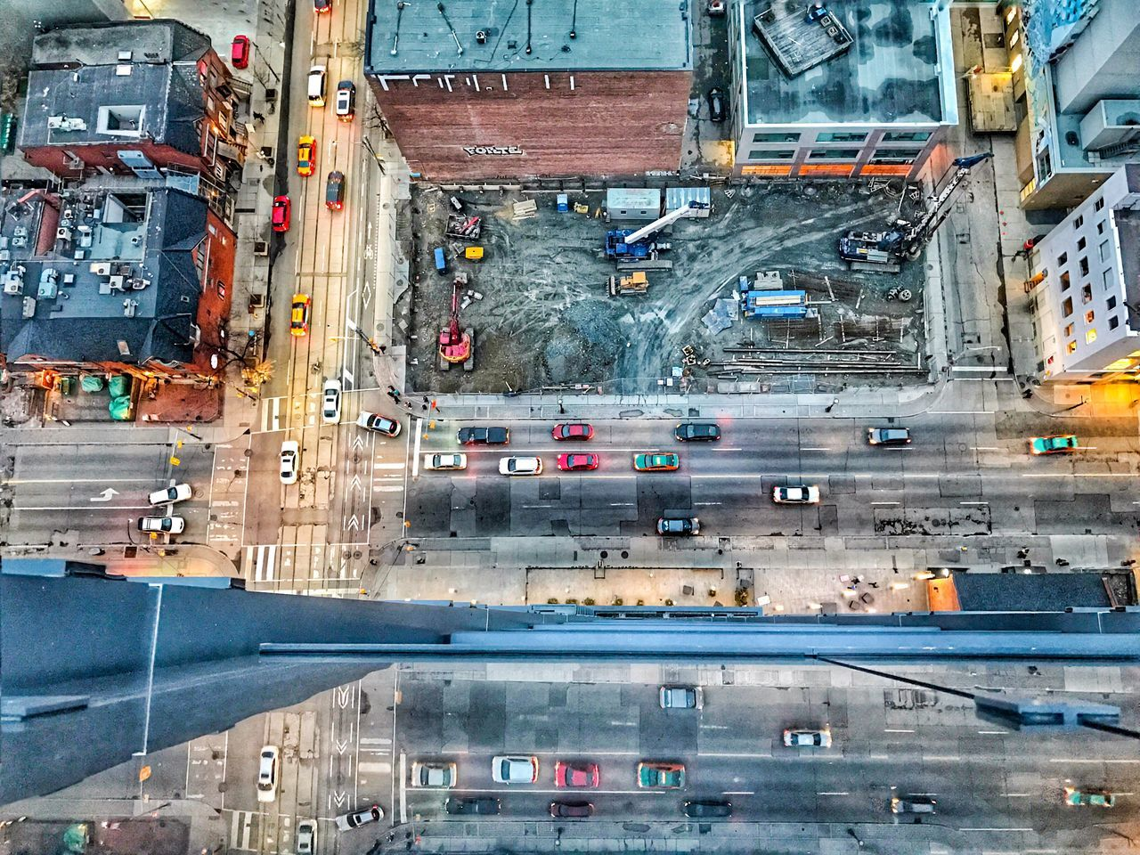 Flying High City Car Aerial View Road Transportation Outdoors Building Exterior Day Architecture No People Cityscape Toronto Downtown Toronto Financial District  Crowded Development Crowded Reflections Mirror Glass Details Illuminated Street Skyscraper