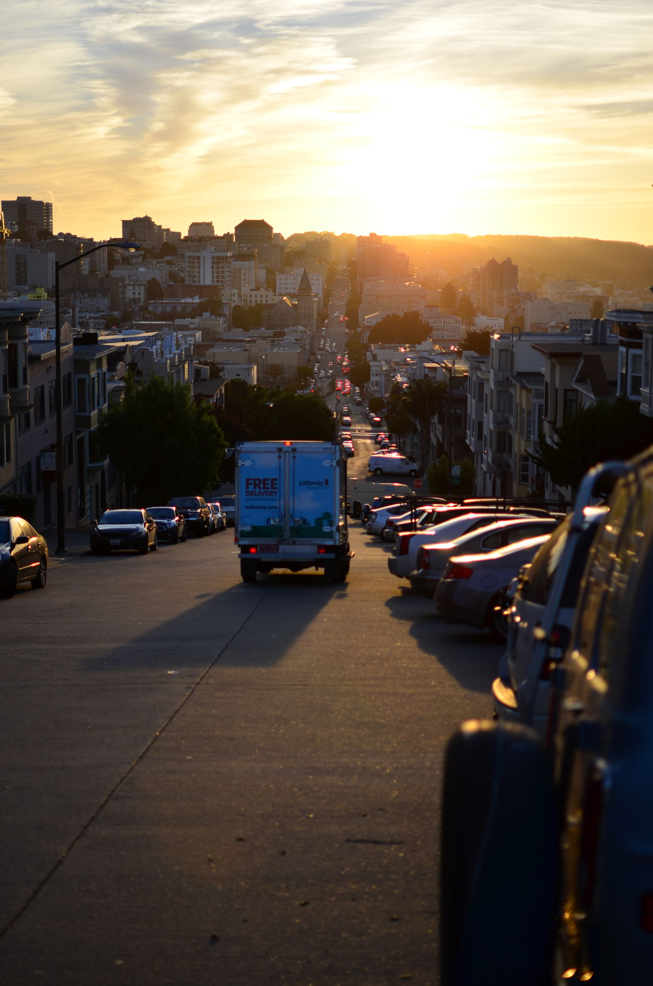 Lucky shot California Car City Cityscape Cloud - Sky D7000 DSLR Nikon No People Road Sky Sonnenuntergang Street Sun Sunlight Sunset