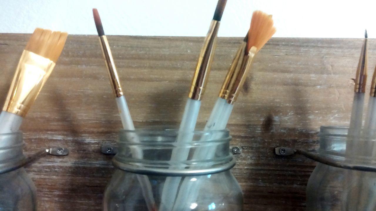 Create... Creativity Paint Jars  Brushes Wood