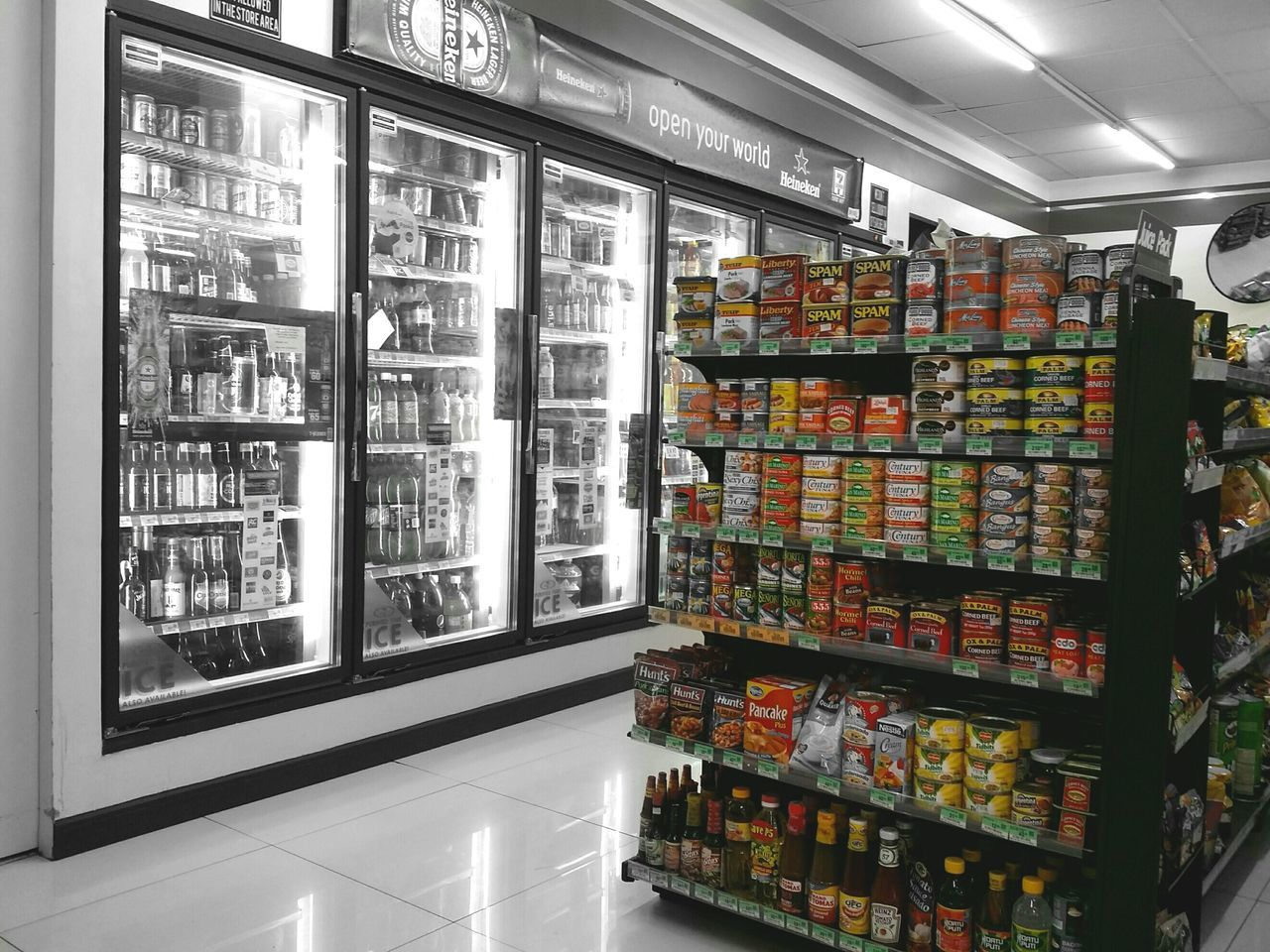Foods 7Eleven  Indoors  EyeEm Shot Color Palette Colorsplash Picsart Photography Canned Meat Products Cannedgoods Shelf Retail  Business Object No People Supermarket Day Store