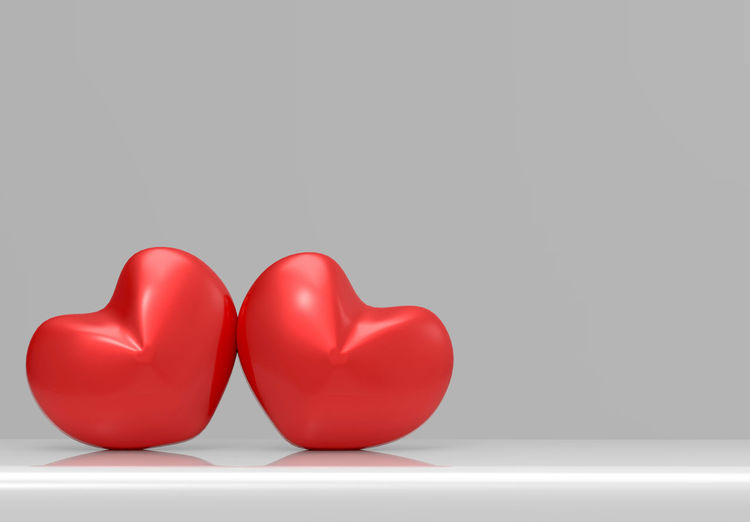 two love heart shape on gray background Love Romantic Shape Touch Valentine Valentine's Day  Copy Space Glossy Good Feeling Gray Background Heart No People Object Red Studio Shot Sweet Symbol Two