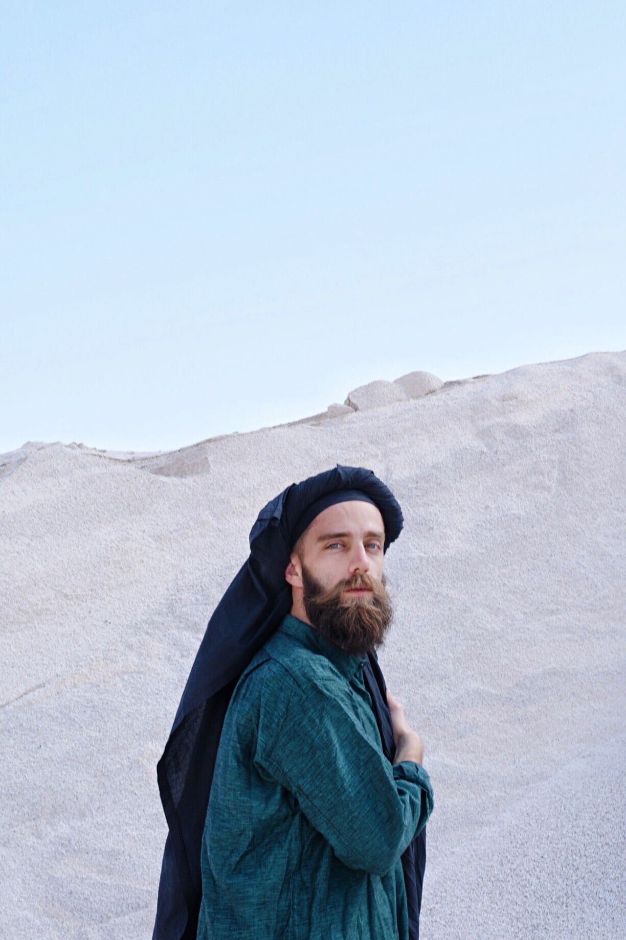The Portraitist - 2017 EyeEm Awards Portrait Minimalism Beard Mountain Nature Day Standing Outdoors Clear Sky One Person Sky Dune Greece Crete Portraits Portrait Photography Portrait Of A Friend Portraiture PortraitPhotography Portrait Of A Man  Makeportraits Makeportraitsnotwar Makeportrait Bearded
