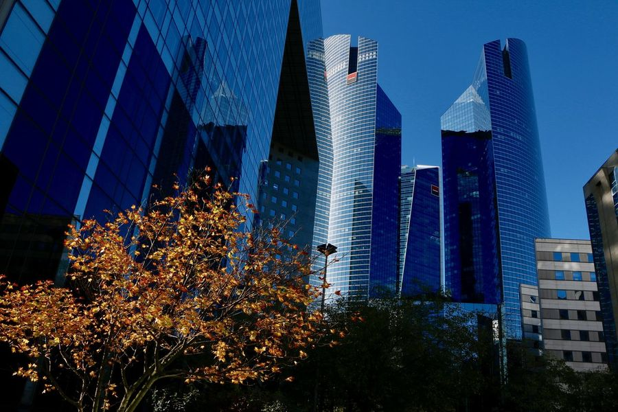 Reflection The Graphic City Architecture Blue Building Exterior Built Structure City Growth Illuminated Low Angle View Modern Night No People Office Park Outdoors Sky Skyscraper Tree EyeEmNewHere