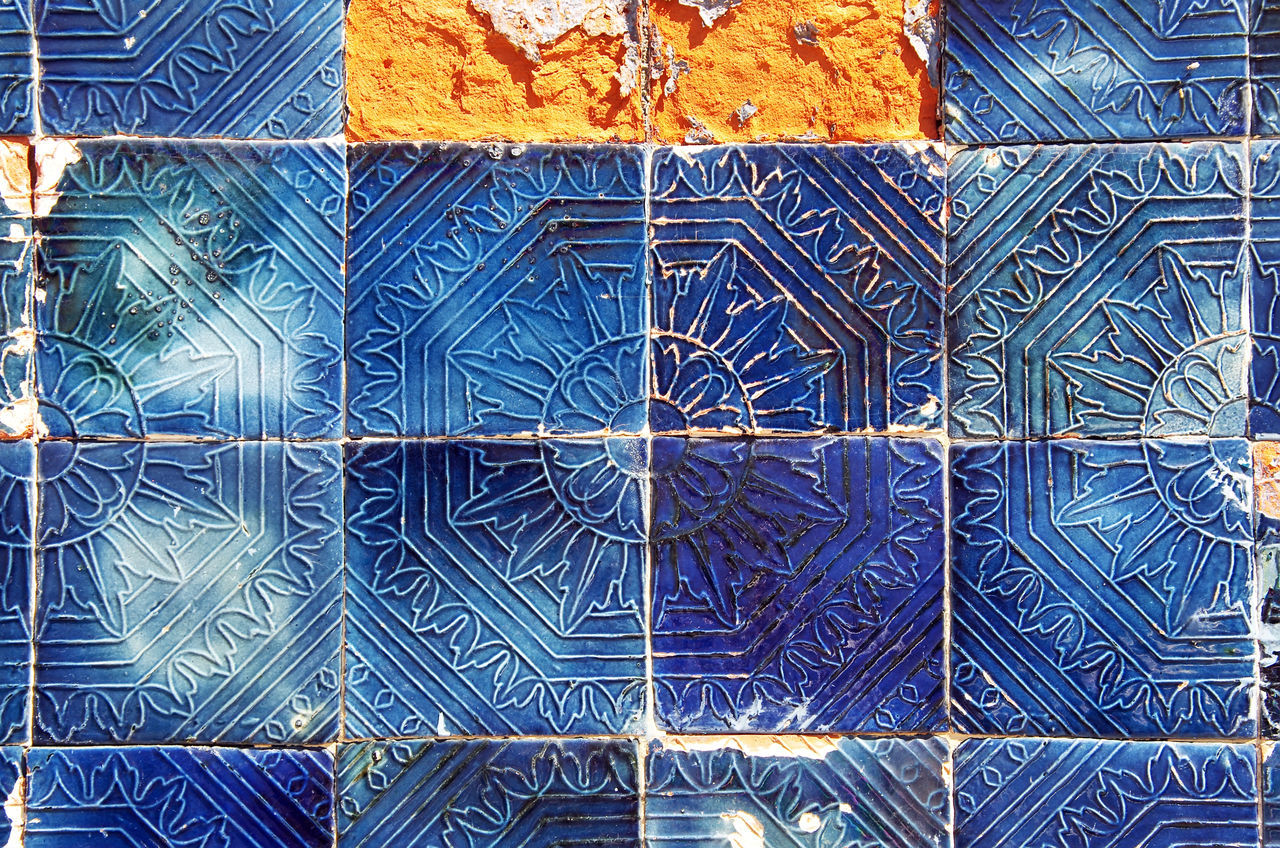 old tiled Blue Background Broken, Abandoned Abstract Backgrounds Blue Close-up Design Detail Pattern Textured  Tile