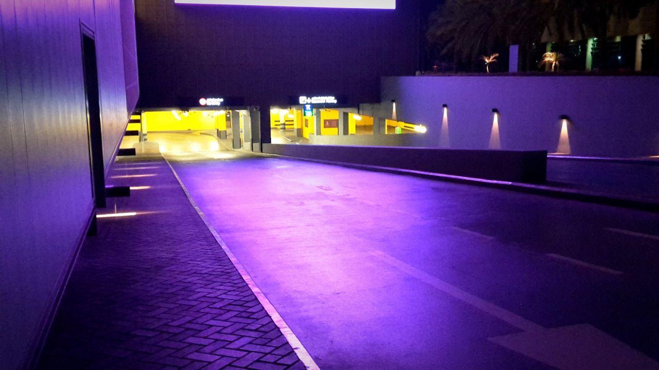illuminated, night, purple, architecture, built structure, indoors, no people, building exterior, neon, city