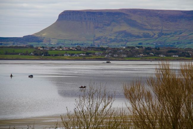 Horses racing on the strand under the watchful eye of Benbulben Beach Racing Benbulben Flat Out Horses On The Beach Mountain Sligo Sligowhoknew Strandhill Road Tides Out Town Water A Bird's Eye View