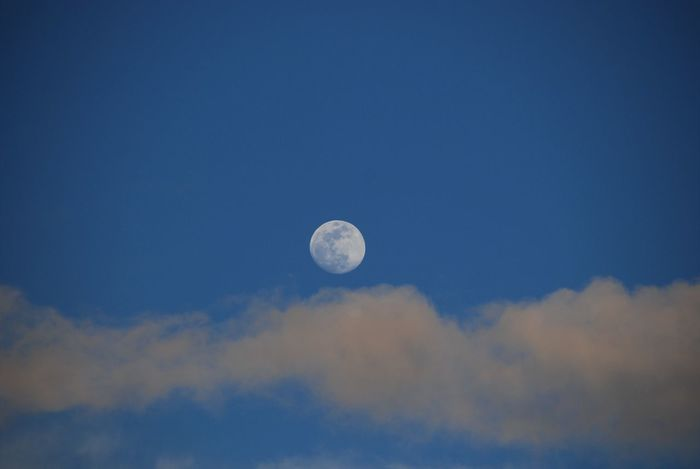 Astronomy Beauty In Nature Blue Cloud - Sky Evening Full Moon Light Clouds Low Angle View Moon Nature No People Outdoors Scenics Sky Tranquility